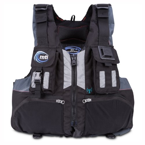 MTI Adventurewear Headwater High Buoyancy PFD Life Jacket (Black/Gray, Medium/Large)