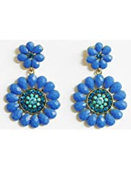 Blue Stone Studded Flower Earrings - Stone And Metal