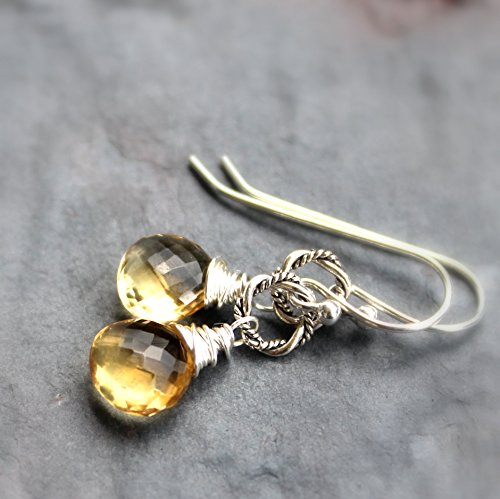 Petite Citrine Earrings Sterling Silver Wire Wrapped Briolette Gemstones Twisted Circle Drops (Twisted Wire Ring compare prices)