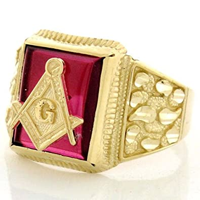 9ct Solid Yellow Gold Mens Synthetic Ruby Masonic Ring
