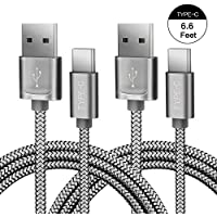 2-Pack JS Nylon Braided 6.6-Feet USB-C to USB-A Cable with Cable Ties