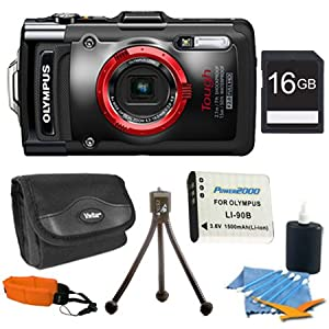 Olympus Stylus TG-2 iHS Digital Camera with 4x Optical Zoom and 3-Inch LCD (Black)Super Bundle With Ultra-Compact Digital Camera Deluxe Carrying Case, 16GB SD Memory Card, 3pc.Cleaning Kit, Tripod, and Red Floating Foam Strap