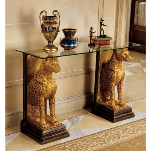 Cheap 34.5″ Ancient Egyptian Cheetahs Sculpture Decorative Console Table (KY559534)
