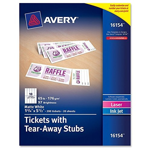 Avery Tickets with Tear-Away Stubs, 1.75 inches x 5.5 inches, Matte White, Pack of 200 (16154) Size: 1 Pack, Model: 16154, Office/School Supply Store (Avery Printable Tickets compare prices)