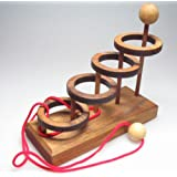 Vier Ringe - Schnurpuzzle - Denkspiel - Knobelspiel - Geduldspiel aus Holz