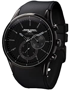 Jorg Gray 5100 Multi-function PVD 44mm Watch - Black/Black Dial, Black Silicon Strap JG5100-32