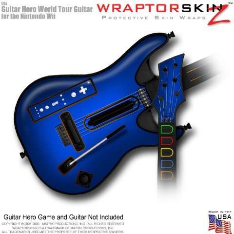 Colorburst Blue Skin fits Band Hero, Guitar Hero 5 & World Tour Guitars for Nintendo Wii (GUITAR NOT INCLUDED) by WraptorSkinz TM - (OEM Packaging)