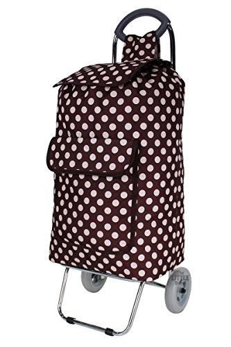 folding-shopping-trolley-chrome-steel-frame-wheeled-shopping-cart-grocery-bag-brown-polka-dot