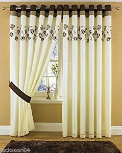 """Stunning Brown Cream Lined Ring Top Eyelet Voile Curtains W66"""" X L90"""" - 168 X 229 Cm (each Panel) by PCJ SUPPLIES"""