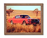 1965 Red Ford Mustang Fastback Car Home Decor Wall Picture Oak Framed Art Print