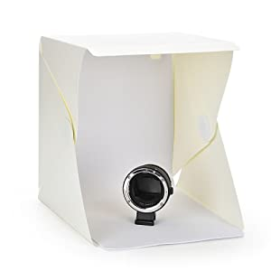 Annsm Folding Portable LED Light Photo Box with Black and White Background Sheets and High Brightness LED Light Strip 9.5inches x 8.7inches x 9.5inche