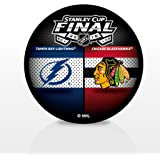 2015 NHL Stanley Cup Dueling Hockey Puck Chicago Blackhawks vs. Tampa Bay Lightning (Sherwood)