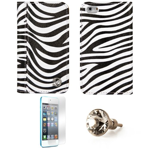 Mary Black White Zebra Wallet Design Smart Stand Case For Apple Iphone 5 Ios (6) + Screen Protector + Swarovski Headphone Anti Dust Plug Charm