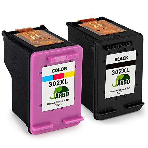 JARBO Remanufactured HP 302 XL Ink Cartridges (1 Black,1 Tri-colour) Compatible with HP DeskJet 1110 1115 2130 2132 3630 3632 3633 HP OfficeJet 3830 3831 3832 4651 4652 4654 HP Envy 4520 4521 4522 4527 4528