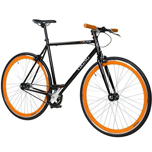 28-Fixie-Singlespeed-Bike-Viking-Blade-5-Farben-zur-Auswahl-Farbe-Schwarz-Orange-Rahmengrsse-59-cm