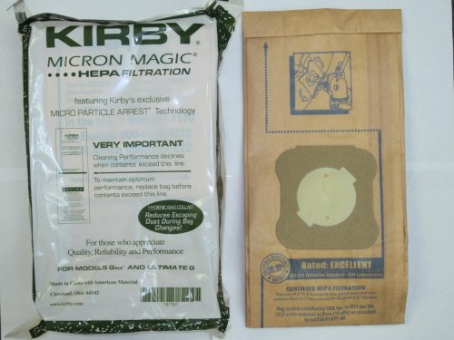 Kirby Part#197301 - Genuine Kirby HEPA Filtration Vacuum Bags Model G6 and Ultimate G - 9/Package