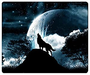 Amazon.com: Pink Ladoo® Wolf Howling At The Moon Rectangle Mouse Pad
