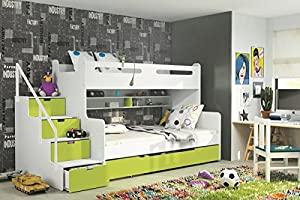 Brand New Kids Children Bunk Bed Bed Max 3 White/Green with Mattresses Storage sold by Arthauss
