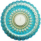 Bold N Elegant Pearl Studded Light Blue Handcrafted Designer Diya Candle Holder With Complimentory Tea Light Candles