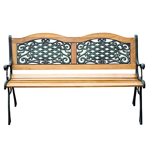 Outdoor Patio Garden Hardwood Slats Bench Furniture Cast Iron Frame Park Chair (Cast Iron Garden Arbors compare prices)