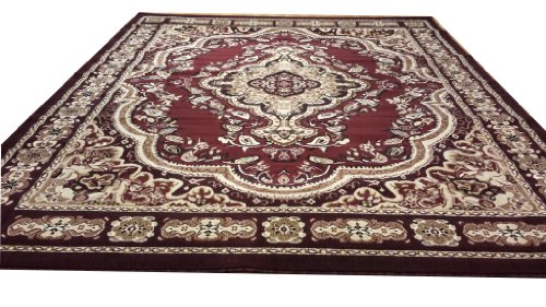 E520 Victorian Traditional Medallion Plush Burgundy Red 5x8 5x8 Actual Size 5'3x7'2 P59.jpg