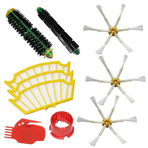 Shp-Zone Bristle Brush & Flexible Beater Brush & Side Brush 6-Armed & Filters & 2 Cleaning Tools Pack Kit For Irobot Roomba 500 Series Roomba 510, 530, 535, 536, 540, 550, 551, 552, 560, 564, 570, 580, 610 Vacuum Cleaning Robots All Green, Red, Black Clea front-539497