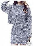 (ヴィラコチャ) Viracocha ニット セーター タイト スカート 2点セット スーツ ミックス 素材 ガーリー ニットソー アンサンブル レディース (グレー)