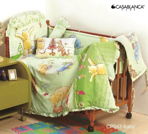 Disney Classic Winnie The Pooh CP642 Baby Crib 12pcs Bedding Set (330 Threads / 10cm squared) 100% Cotton - 1