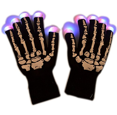 Skeleton LED Flashing Finger Lighting Gloves Riding Gloves 7 Modes Colors Light Show