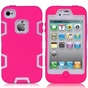 MagicSky Robot Series Hybrid Case for Apple iPhone 4 4S 4G - 1 Pack - Retail Packaging - White/Hot Pink