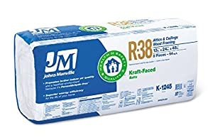 Johns manville 90005452 kraft faced r 38 fiberglass for Fiberglass batt insulation r value
