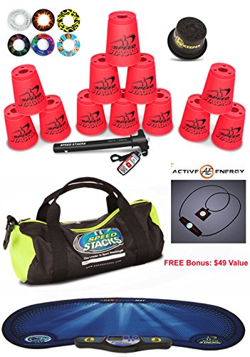 Speed Stacks Custom Combo Set - The Works: 12 NEON PINK Cups, Cup Keeper, Quick Release Stem, Pro Timer, Gen 3 Mat, 6 Snap Tops & Gear Bag