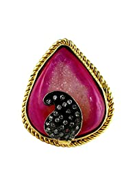 Gehna Mart Pink Druzy And American Diamond Studded Gold Finished Free Size Ring For Women