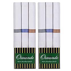 Osmonde Mens Essential Cotton Handkerchiefs Pack of 6