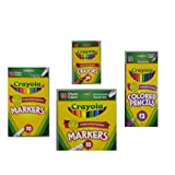 Crayola Crayons (24 Count), Crayola Colored Pencils in Assorted Colors (12 Count), Crayola (10ct) Classic Fine Line Markers, and Crayola (10ct) Classic Broad Line Markers Holiday  Bundle (Tamaño: crayons + pencils + markers)