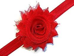 Bellazaara BELLAZAARA Baby Girl Elastic Red Chiffon Rose Shabby Flower Headband Head Band (Red)