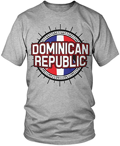 Dominican Flag, Dominican Republic Flag Country Shape Men's T-shirt, Amdesco, Athletic Heather Gray 2XL (Made In Dominican Republic compare prices)