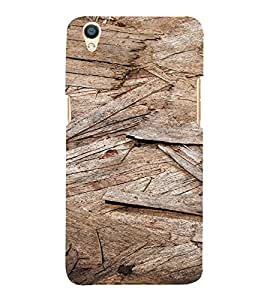 PrintVisa Wooden Flakes Pattern 3D Hard Polycarbonate Designer Back Case Cover for Oppo F1 Plus