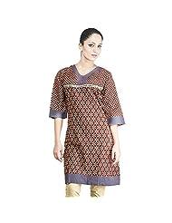 Rama Cotton Brown Printed Women's Straight Kurta (14RAMA1421007)
