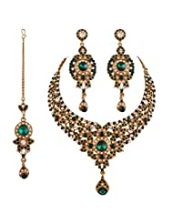 I Jewels Traditional Gold Plated Jewellery Set With Maang Tikka Using Austrain Diamonds And Italian Stones For...