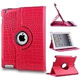 Wonder Smart Case Cover for Apple iPad Mini & iPad Mini 2, Ultra Lightweight Slim-Fit Magnetic Crocodile Pattern 360 Degrees Rotating Stand (Pink)