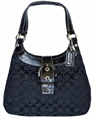 Coach Soho Signature Hobo Black Gray F17094