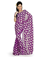 Designersareez Women Georgette Jacquard Printed Purple Saree With Unstitched Blouse(730)
