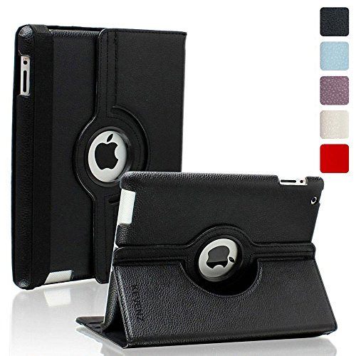 Kevenz 360 Degree Rotating Case with Back Case for iPad 2/3/4 - Black