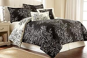 Hotel New York Foliage Design 90 GSM 6-Piece Microfiber Reversible Comforter Set, Queen, Black/Ivory