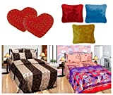 Furnishing Zone Polycotton Bedding Set with Doormat and Cushion Set - Floral, Multi-Color