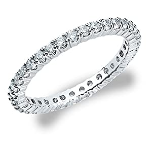 18K White Gold Diamond 4 Prong Eternity Ring (1.5 cttw, H-I Color, I1-I2 Clarity) Size 5