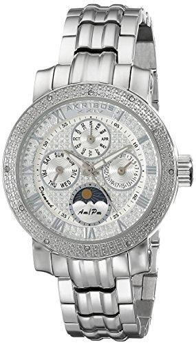 Akribos XXIV Women's AK614SS Grandiose Diamond Multi-Function Stainless Steel Bracelet Watch
