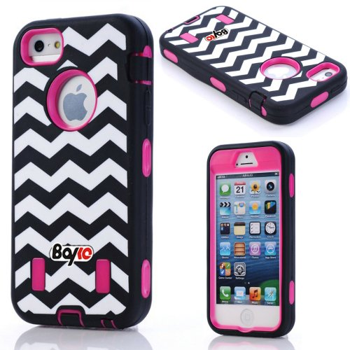 Bayke Brand Premium Armorbox Armor Defender Case for Apple Iphone 5 5S (5C Not Fit) Fashion Print High Impact Dual Layer Hybrid Full-body Protective Case (Navy Chevron Design Hot Pink) at Amazon.com