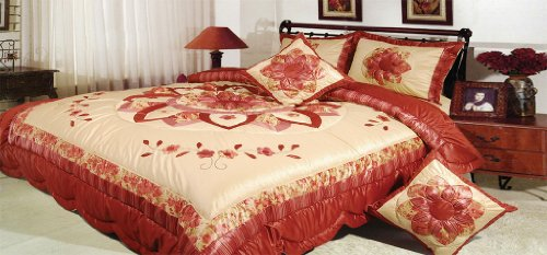 Dada Bedding Bm465L Sunset Rubies Polyester Patchwork 5-Piece Comforter Set, King, Burgundy